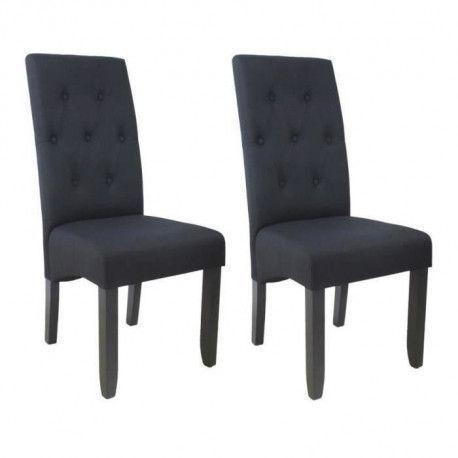 CUBA Lot de 2 chaises de salle a manger Tissu noir Style