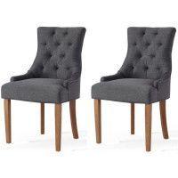 Lot de 2 chaises de salon pieds en bois hevea massif - Revetement tissu gris chine - Classique- L 55 x P 60 cm