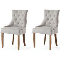 Lot de 2 chaises de salon pieds en bois hevea massif - Revetement tissu lin beige chine - Classique - L 55 x P 60 cm