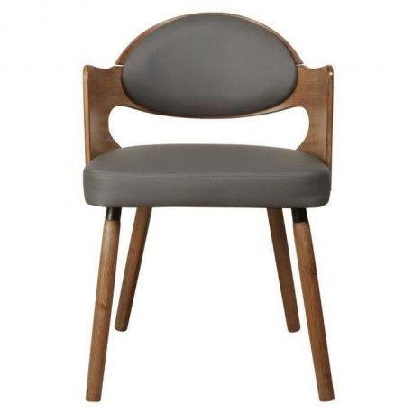 KIRUNA Chaise de salle a manger Simili gris Vintage L 50 x P 51 cm