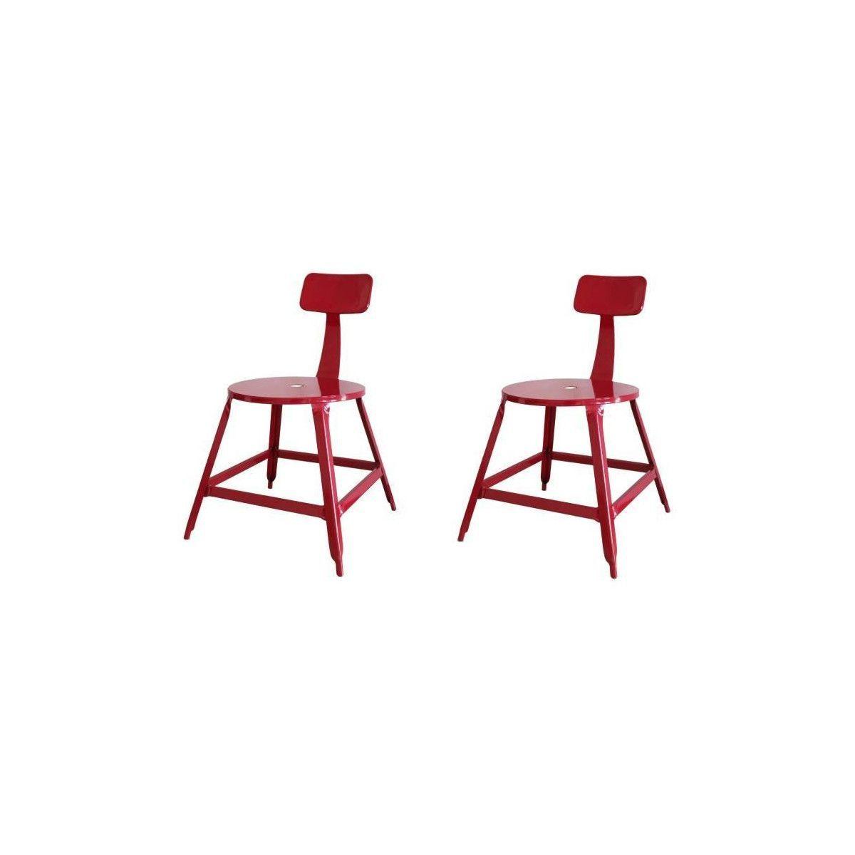 chaises salle LOFT manger 2 a rouge metal Lot de de mnv0wN8