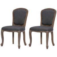 CLASSIQUE Lot de 2 chaises de salle a manger en bois massif - Tissu Lin gris - Classique - L 52 x P 40 cm