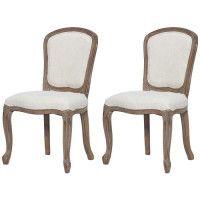 CLASSIQUE Lot de 2 chaises de salle a manger en bois massif - Tissu Lin coloris naturel - Classique - L 52 x P 40 cm