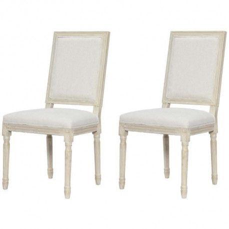 REGENCY Lot de 2 chaises de salle a manger en bois massif - Tissu Lin blanc - Classique - L 47 x P 40 cm