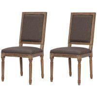 REGENCY Lot de 2 chaises de salle a manger en bois massif - Tissu Lin chocolat - Classique - L 47 x P 40 cm