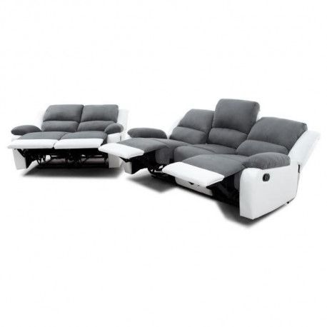 RELAX Ensemble canapes droits de relaxation 3 + 2 places - Microfibre gris et simili blanc - L 190 x P 93 cm + L 144 x P 93 cm