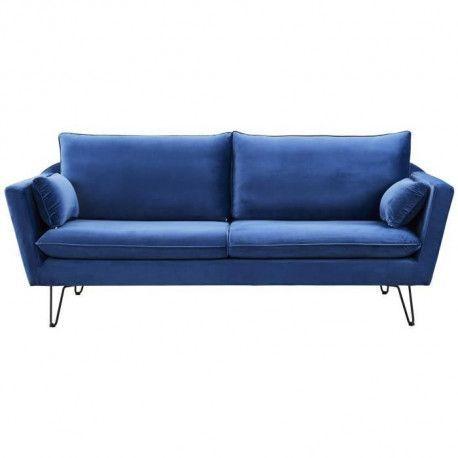 ARTHUR Canape droit fixe 4 places - Velours bleu - Vintage - L 221 x P 88 cm