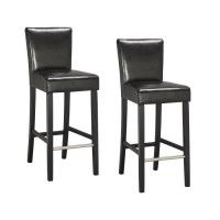 ELVIS Lot de 2 tabourets de bar - Simili noir - Contemporain - L 39 x P 49,5 cm