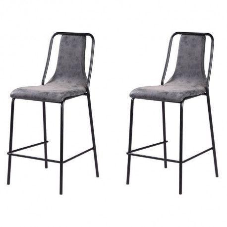 Lot de 2 tabourets de bar pieds en metal noir - Revetement simili PU gris anthracite - Industriel - L 40 x P 50 cm