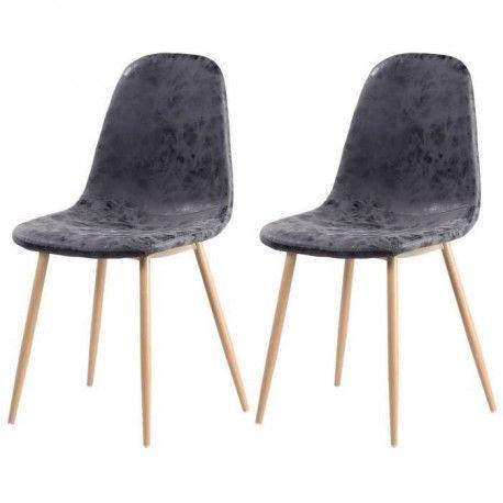 Lot de 2 chaises de salle a manger pieds en metal imitation bois - Revetement simili PU gris - Industriel - L 54 x P 44 cm