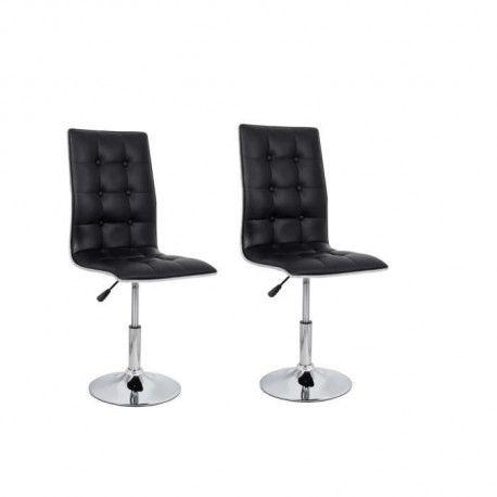LEAF Lot de 2 chaises de salle a manger - Simili noir - Contemporain - L 42 x P 46,5 cm