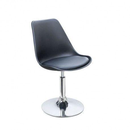 POPPY Chaise de salle a manger pivotante - Simili noir - Contemporain - L 48,5 x P 53 cm