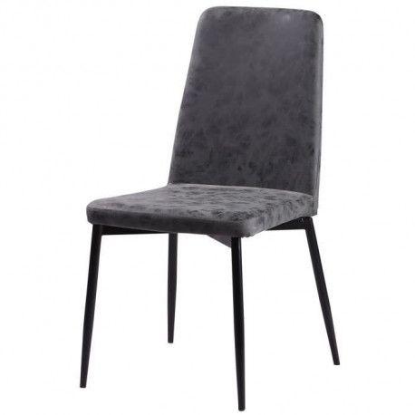 VINTY Chaise de salle a manger - Simili gris - Style contemporain - L 52 x P 52 cm