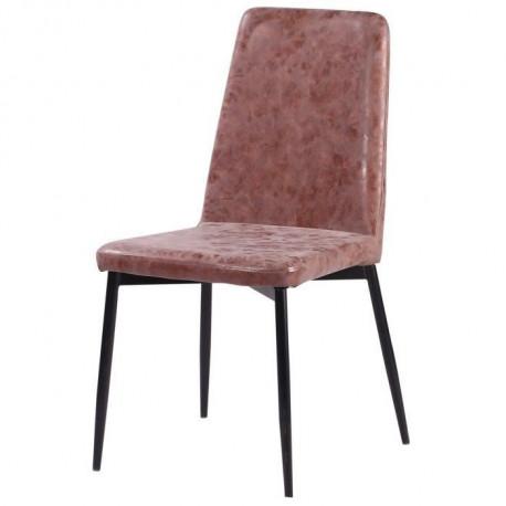VINTY Chaise de salle a manger - Simili marron - Style contemporain - L 52 x P 52 cm