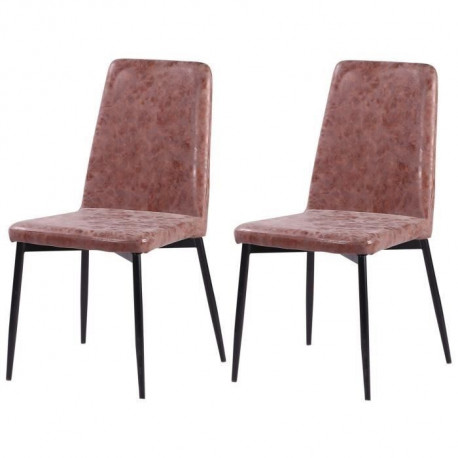 VINTY Lot de 2 chaises de salle a manger - Simili marron - Style contemporain - L 52 x P 52 cm