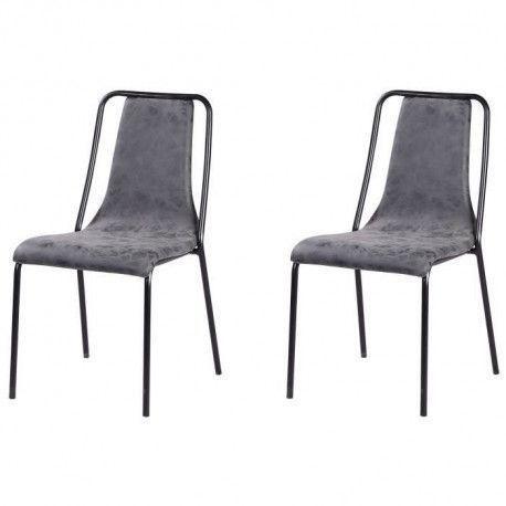 VINTOU Lot de 2 chaises de salle a manger - Simili gris - Style industriel - L 47 x P 56 cm