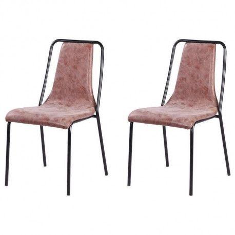 VINTOU Lot de 2 chaises de salle a manger - Simili marron - Style industriel - L 47 x P 56 cm
