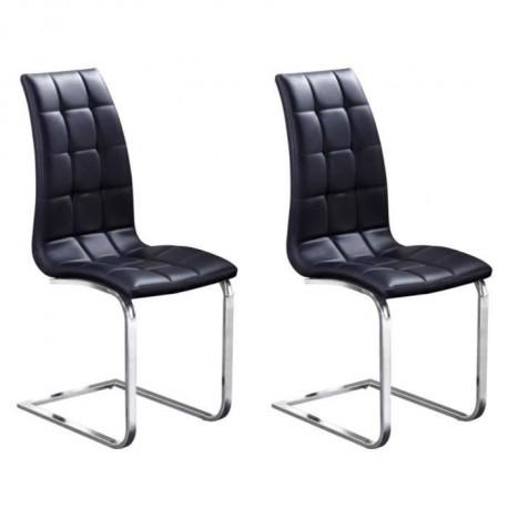 LUGANO Lot de 2 chaises de salle a manger - Simili noir - Contemporain - L 48 x P 45 cm
