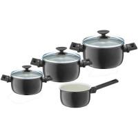BERNDES Set de 4 casseroles Clever Alu Special Elegance - O 16-20-24-26 cm - Noir et transparent