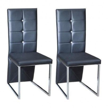 BLING Lot de 2 chaises de salle a manger - Simili noir - Contemporain - L 44,5 x P 54 cm