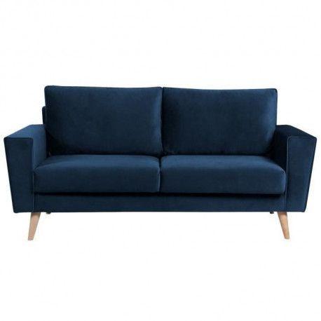 BRANDO Canape droit fixe 3 places - Velours bleu fonce - Scandinave - L 184 x P 90 cm