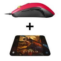 Pack Gamer : Steelseries Souris Rival 100 - Filaire - Rouge + Tapis QcK Diablo III Monk Edition