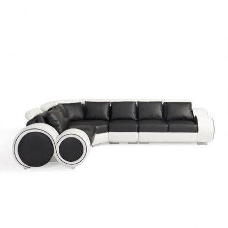 AUSTIN Canape relaxation angle reversible 6 places - Simili noir et blanc - Contemporain - L 308 x P 235 cm