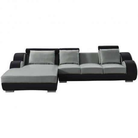 DAMIEN Canape de relaxation dangle gauche fixe 6 places - Simili gris et noir - Contemporain - L 188 x P 160 cm