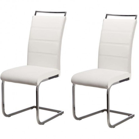 DYLAN Lot de 2 chaises de salle a manger - Simili blanc - Contemporain - L 42,5 x P 56 cm