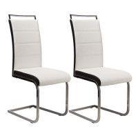 DYLAN Lot de 2 chaises de salle a manger - Simili blanc et noir - Contemporain - L 42,5 x P 56 cm