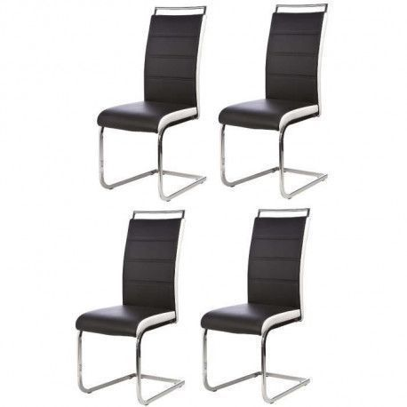 DYLAN Lot de 4 chaises salon noir blanc