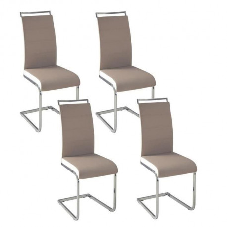 DYLAN Lot de 4 chaises salon taupe/blanc