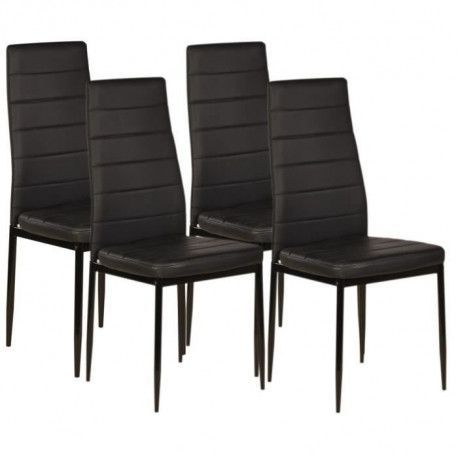 VOGUE Lot de 4 chaises de salle a manger - Simili noir - Style contemporain - L 43,5 x P 52 cm
