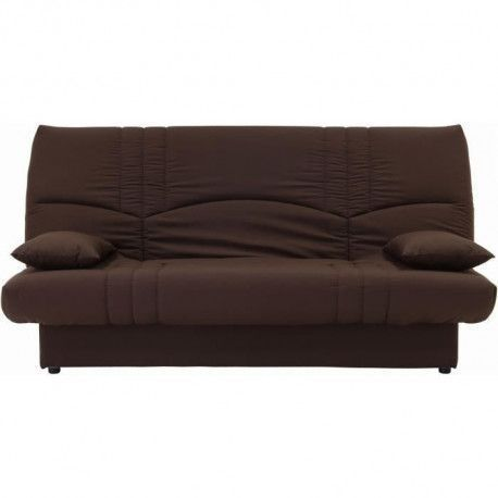 DREAM Banquette clic clac 3 places - Tissu chocolat - Slyle contemporain - L 190 x P 92 cm
