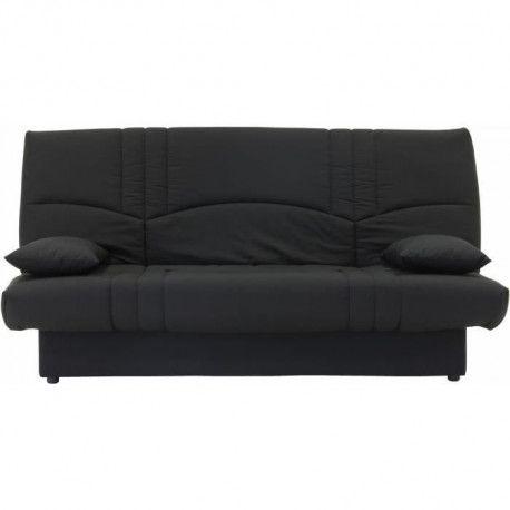 DREAM Banquette clic clac 3 places - Tissu noir - Slyle contemporain - L 190 x P 92 cm