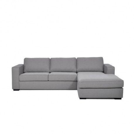 EDEN Canape dangle fixe droit 4 places - Tissu gris clair - Contemporain - L 279 x P 187 cm