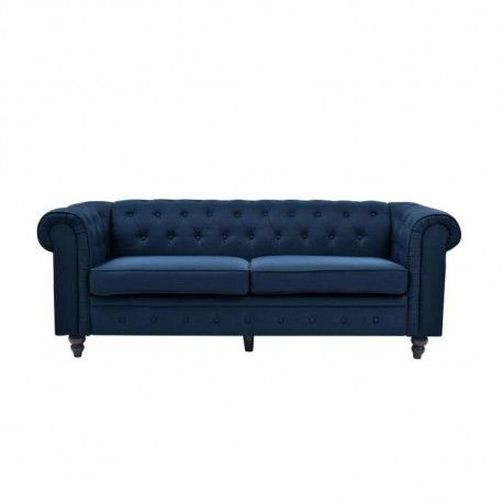 EDGAR Canape Chesterfield droit fixe 3 places - Tissu lin bleu - L 202 x P 82 cm