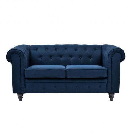 EDGAR Canape Chesterfield droit fixe 2 places - Tissu lin bleu - L 160 x P 82 cm