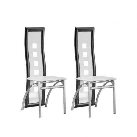 EIFFEL Lot de 2 chaises de salle a manger - Simili blanc et gris - Style contemporain - L 50 x P 53 cm