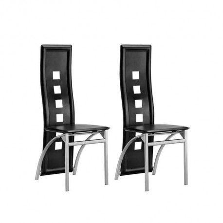 EIFFEL Lot de 2 chaises de salle a manger - Simili noir - Style contemporain - L 50 x P 53 cm
