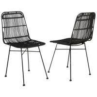ELIA Lot de 2 chaises en rotin noir - Pieds en metal - Ethnique - L 44 x P 40 cm