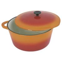 CREALYS GRAND CHEF Cocotte ronde en fonte dacier emaillee - O 26 cm - 5 L - Orange - Tous feux dont induction