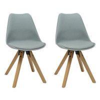 HANNOVER Lot de 2 chaises de salle a manger - Simili gris - Scandinave - L 49,5 x P 61 cm