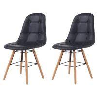 HEMA Lot de 2 chaises de salle a manger - Simili noir et pieds en hetre massif - Scandinave - L 44 x P 53 cm