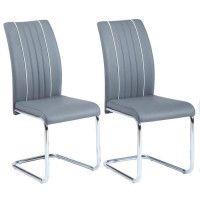 INES Lot de 2 chaises de salle a manger - Simili gris - Contemporain - L 43 x P 59 cm