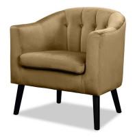 JOYCE Fauteuil - Velours marron bronze - Classique - L 70 x P 64 cm