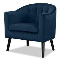 JOYCE Fauteuil - Velours bleu - Classique - L 70 x P 64 cm