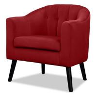 JOYCE Fauteuil - Velours rouge - Classique - L 70 x P 64 cm