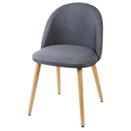MACARON chaise de salle a manger - Tissu gris anthracite - Scandinave - L  50 x P 50 cm