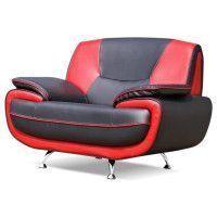 SPACIO Fauteuil - Simili noir et rouge - Contemporain - L 134 x P 86 cm